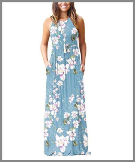 Light floral blue maxi dress from Walmart. Harness strap neckline. perfect cool summer outfit.  #LTKSeasonal #LTKunder50 #LTKunder100