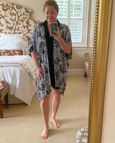 Another winner from H&M!  This pajama set is silky soft, I LOVE the oversized shirt and it's elbow-length sleeves…and the smocked elastic waistband is super comfy and stays put.  Another 10/10!  And this animal-print kimono is the PERFECT weight and is one of my most versatile pieces.  Jammies, pajamas, comfy clothes, WalMart, H&M, Kimono, elegant lounge clothes. #LTKunder50 http://liketk.it/3imvi #liketkit @liketoknow.it