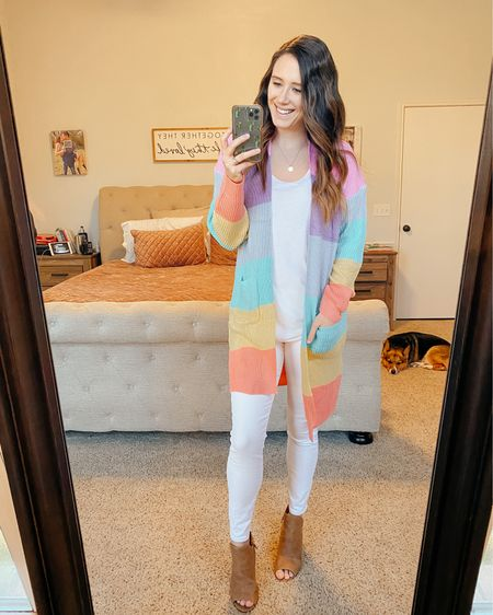 When you can't pick one color to wear, you wear them all 😉 Love this colorful lightweight cardigan for spring with white jeans and high waisted shorts as temps rise. Right now it's pretty chilly in the mornings, but by mid afternoon we are all in shorts 😅 it's so hard to dress for! Is it still cold where you are?   If you like this look and want to see more, check out Week 30 of #chicfashionstyles! Each week we share our favorite outfits, looks and styles. We'd love to see yours too! If you want to join, DM one of our hosts @shoppingwith.hannah or @emma_grace_blog to get the details!  #çнιɕŦครђioภʂɬყƖɛʂwêęk30  http://liketk.it/3aVKh @liketoknow.it #liketkit #LTKstyletip #LTKunder50 #LTKshoecrush