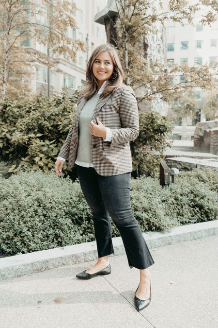 Fall denim outfit idea- kick flare jeans with plaid blazer and layered cashmere sweater and button down shirt   #LTKcurves #LTKstyletip #LTKSeasonal
