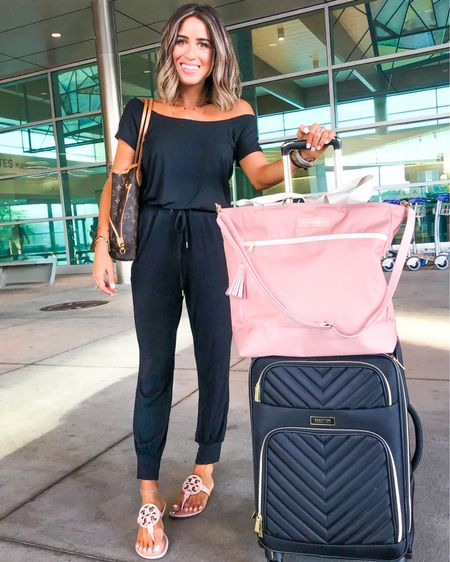 Today's travel look! Love this comfy jumpsuit (I also have it in grey) in size xxs and it's literally SO comfy and soft. This blush travel bag is so great for traveling or as a gym bag. Also comes in other colors and can be worn crossbody. I have size 7 in my sandals in the seashell pink color http://liketk.it/2ENKg #liketkit @liketoknow.it #LTKunder50 #LTKunder100 #LTKstyletip #LTKsalealert #LTKshoecrush #LTKtravel