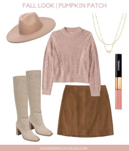 This skirt and sweater paired with knee high boots and hat is the perfect hat for a trip to the pumpkin patch.   #LTKSeasonal #LTKstyletip