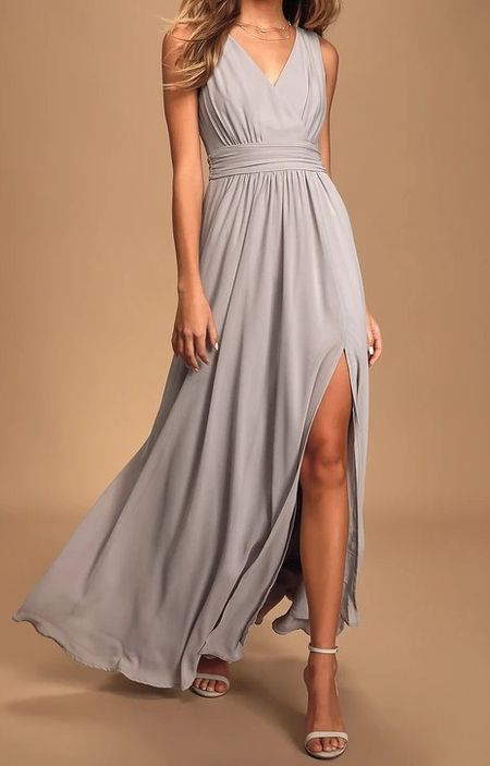 Thoughts of Hue Light Grey Surplice Maxi Dress   Lulus Exclusive! The Lulus Thoughts of Hue Light Grey Surplice Maxi Dress will have you dreaming of romantic evenings under starlit skies! Lightweight woven Georgette fabric drapes into a sleeveless, surplice bodice and V-back, atop a banded waistline. Cascading skirt falls to a maxi hem with a sultry side slit. Hidden back zipper with clasp.   Lulus, lulus finds, wedding guest, fall wedding guest, fall outfits, autumn, autumn outfits, fall, outfit ideas, fashion finds, fall fashion,