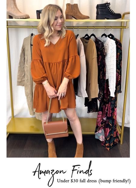 This Amazon dress is perfect for fall photos 🍂  Family photos, fall photos, fall outfit, fall dress, dress, Amazon fashion, Amazon finds, Marc Fisher boots   #LTKitbag #LTKunder50 #LTKshoecrush