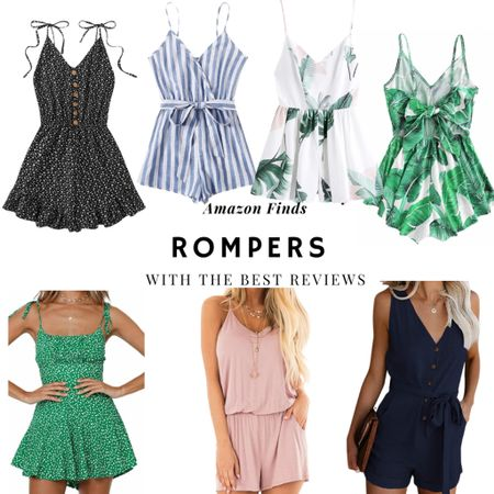 Amazon finds. Rompers with the best reviews. Pro tip when shopping for clothes on Amazon...always look at the pictures submitted in the reviews. It gives you a much better idea of what you're getting 😉   #LTKSeasonal #LTKtravel #LTKSpringSale