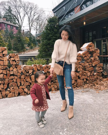 """Mommy & me outfits at brunch: Wearing Lulus sweater S (love it, runs a little small and short), Booties in """"tortilla"""" size 5.5, old express jeans (linked similar that come in petites). Nori's outfit is from Zara and her sneakers are see Kai run. http://liketk.it/2Kz6f #liketkit @liketoknow.it #ltkunder100 #boots #ltksalealert #petite"""