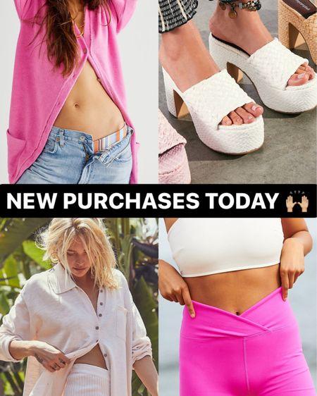 Zuma sweater set (XS), keep on walkin pink cardigan (XS), hot pink glow up bike shorts (XS) and Marla woven platform sandals (TTS)  http://liketk.it/3hK5K @liketoknow.it #liketkit