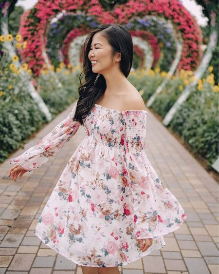 Pink floral dress, pink floral off the shoulder dress with bell sleeves (S - under $30 and comes in 20+ colors)! Top is smocked, sleeves are a flown bell sleeve — it's very dreamy and romantic and would make for a great date night outfit, baby shower dress, maternity dress, engagement photos outfit. Amazon finds, Valentine's Day dress, Valentine's Day outfit, vacation dress, spring break dress. @liketoknow.it http://liketk.it/36Q6g #liketkit #LTKunder50 #LTKstyletip