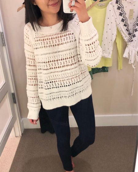 """Trying on this Lou & Grey sweater size XS. Fits true to size for a relaxed fit. The material feels like a loofah. 😅 For reference I'm 5'2.5"""" and 110 pounds. It's currently 40% off (extra 10% off for cardmembers) at LOFT with the code NEWNOW. Over the weekend I received a 50% off (one time use) code as a mobile text alert subscriber so I placed an order for a few new items I wanted to try. I also linked to a few of my sales picks @liketoknow.it http://liketk.it/2ApFH #LTKsalealert #LTKunder100 #LTKunder50 #loveloft #liketkit"""