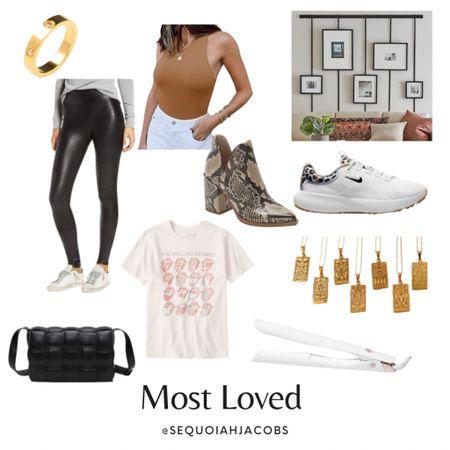 Most loved items on my LTK bodysuit, sneakers, #nsale, zodiac necklace, designer dupe bag, Rolling Stones graphic tee, Spanx leather leggings, picture frame rail, eternity ring, gold ring, outfit inspo, lounge. #liketkit @shop.ltk  #LTKitbag #LTKsalealert #LTKshoecrush
