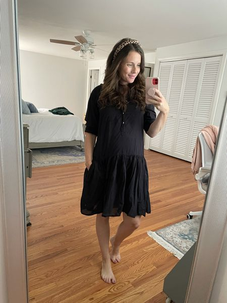 Fall non-maternity bump friendly dress by Grayson - leopard headband - fall outfit - teacher outfit - The Changemaker Dress in Tissue Cotton use code CAITLINHOUSTON for $25 off  #LTKunder100 #LTKbump #LTKstyletip