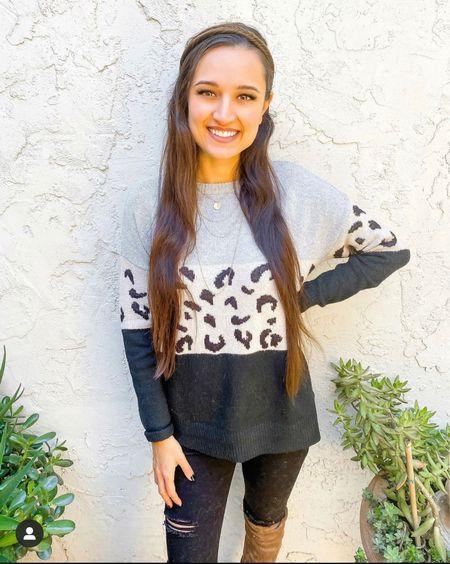 Pink Lily is 25% off! Leopard sweater   #LTKSale #LTKsalealert #LTKstyletip