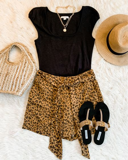 Love these leopard soft shorts form Target, too bad they're sold out past season BUT I linked up some new versions to check out! 🙈🙌🏻💕Paired with a Walmart bodysuit, easy day to night look. Shop your screenshot of this pic in the LTK app or click the link in bio! Code budgetbabe15 for the shoes. 🥰 http://liketk.it/3jU2L #liketkit @liketoknow.it #LTKunder50 #LTKshoecrush #LTKstyletip #targetstyle
