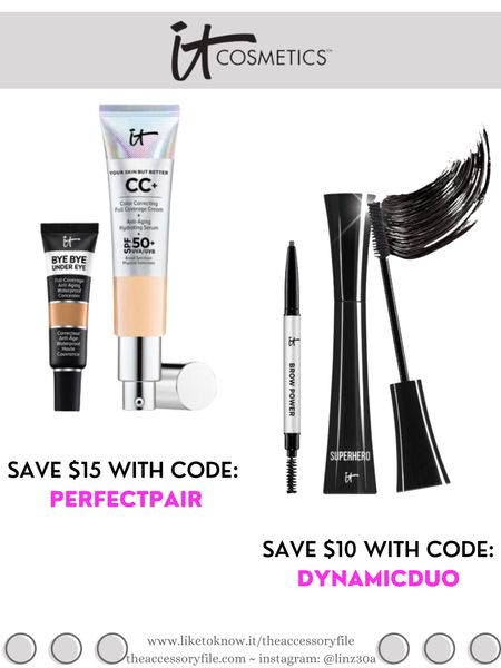 It Cosmetics bundle deals - discount codes below  Get your shades in Your Skin But Better CC Cream & Bye Bye Under Eye and save $15 with code: PERFECTPAIR  Get your shade in Brow Power & Superhero Mascara and save $10 with code: DYNAMICDUO  Makeup, beauty products, concealer, foundation, brow pencil    http://liketk.it/3hZH6  #liketkit @liketoknow.it #LTKbeauty #LTKsalealert #LTKunder50