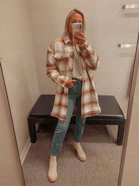 Nordstrom Anniversary sale looks  Plaid shacket size xs fits oversized  Sweater size S fits cropped but tts Denim tts wearing 24 Boots size down  #LTKunder50 #LTKsalealert #LTKshoecrush