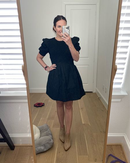 Fall outfits / teacher outfit / black dress with puff sleeve / fall dresses / light tan booties / short sleeve dress   #LTKshoecrush #LTKunder100 #LTKworkwear