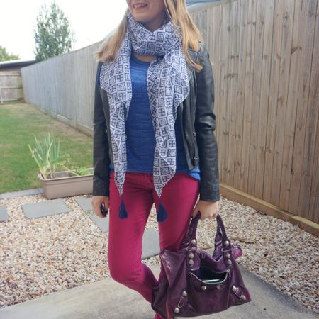 Bright colours and a big bag for a cold day the other week 💙💗💜 Didn't need such a big bag, just felt like getting this purple Balenciaga work bag out again as I love it so much 💜 Layered up with this pretty @fashionscarfgirl printed scarf that's so nice with the cobalt marl knit and the magenta Sass and Bide jeans. The leather jacket has a subtle print but as it's blue I thought it worked well with the printed scarf. We had the school run, a couple errands, and yet another vet visit for Cooper who is becoming a frequent patient there this year! 😥  -------------------   -----------------  ------------   ----------------- ---------------------------  Screenshot this pic to shop the product details from the @liketoknow.it app, or click here: http://liketk.it/3l7EG #liketkit #LTKitbag #balenciagaBag #balenciagawork #everythingLooksBetterWithABag #realeverydaystylepic #everydaystyle #winterstyle #realmumstyle #wearedonthestreet #nevervainalwayscolour #fashionscarfgirl