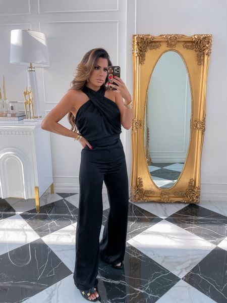 Red Dress Boutique, Red Dress Try On Haul, Black Satin Jumpsuit, Emily Ann Gemma, Fall formal outfit ideas, black date night jumpsuit, http://liketk.it/3m7Ym