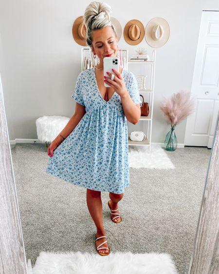 Light blue floral dress 💙 size small! . . .  http://liketk.it/3hgsZ #liketkit @liketoknow.it #LTKstyletip #LTKunder50 #LTKunder100 dress, blue dress, summer dress, floral dress, sandals