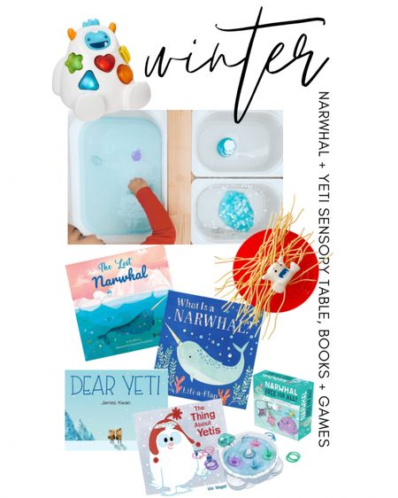Winter Sensory Table with Yeti and Narwhal Themed Books + Games Shop your screenshot of this pic with the LIKEtoKNOW.it shopping app http://liketk.it/36bzI @liketoknow.it @liketoknow.it.family #liketkit #LTKfamily #LTKkids