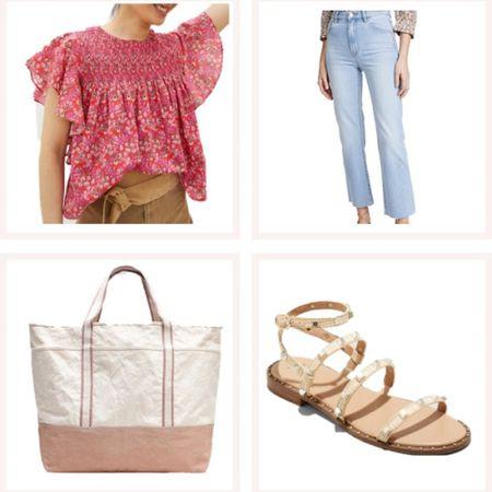 Pink flutter sleeve top, straight leg jeans, neutral tote, and affordable wrap ankle sunglasses! @liketoknow.it #liketkit #LTKunder50 #LTKunder100 http://liketk.it/3edDW