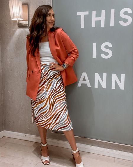 Zebra skirt Pink Blazer Ann Taylor   http://liketk.it/3iEMs #liketkit @liketoknow.it #LTKstyletip #LTKworkwear #LTKcurves