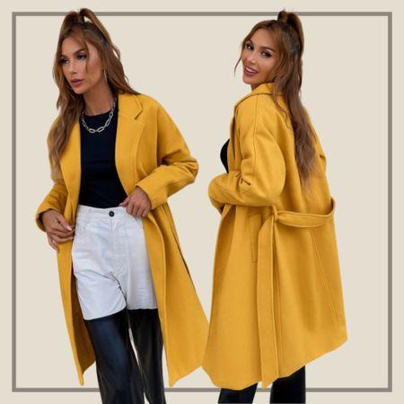 Solid yellow belted coat jacket   #LTKstyletip #LTKunder50