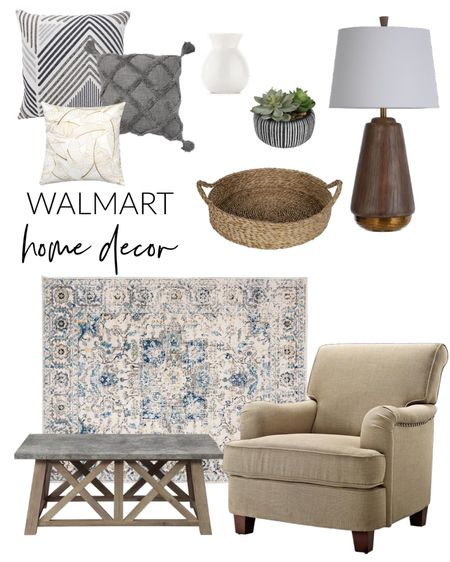 Home decor spruce up with these popular Walmart finds!  Area rug, throw pillows, wood lamp, basket tray,    #LTKfamily #LTKstyletip #LTKhome