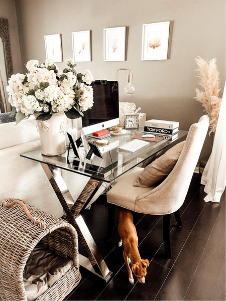 Neutral Home Office Decor. Work from home. Pottery Barn home office. Glass desk. Office space. Pet canopy bed  #ltkpets #potterybarn   #LTKstyletip #LTKhome #LTKfamily