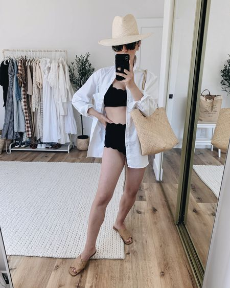 White button down as a coverup.  Shirt- AYR xs Bathing suit top- Marysia small Bathing suit bottom- Marysia xs Sandals- Everlane 5 Tote- Bembien  Hat- Janessa Leone small  http://liketk.it/3irvL @liketoknow.it #liketkit #LTKstyletip