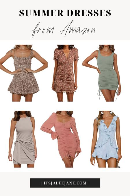 Amazon Summer Dresses and rompers. Amazon affordable fashion. Floral ruched dress. Bodycon ruched dress with drawstring. Ruffled romper.  #LTKunder50 #LTKunder100 #LTKstyletip