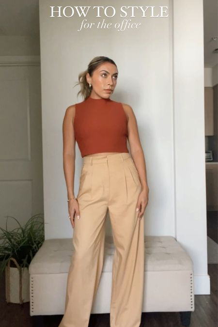 How To Style: For The Office Edition  - knit or ribbed mock neck top with trousers  - Both items can be essential pieces in your wardrobe as you can mix and match to create different looks.