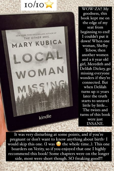 Local Woman Missing by Mary Kubica :: 10/10⭐️ WOW-ZA!! My goodness, this book kept me on the edge of my seat from beginning to end! I couldn't put it down! When one woman, Shelby Tebow, then another women and a 6 year old girl, Meredith and Delilah Dickey, go missing everyone wonders if they're connected. But when Delilah turns up 11 years later the truth starts to unravel little by little… The twists and turns of this book were just INSANE. It was very disturbing at some points, and if you're pregnant or don't want to know anything about birth- I would skip this one. (I was 😳 the whole time..). This one boarders on Verity, so if you enjoyed that one I highly recommend this book! Some chapters were on the longer side, most were short though. SO freaking good!!!   #LTKGiftGuide #LTKhome #LTKtravel