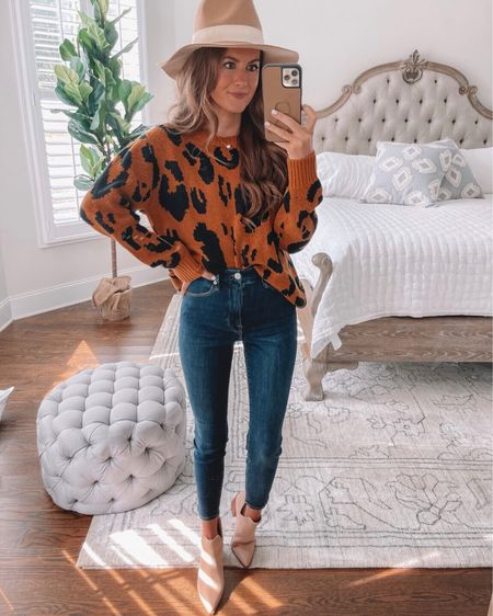 Amazon fall outfit! 🍁 Leopard sweater, Good American denim, suede boots, wool felt hat, cmcoving, Caitlin Covington, fall fashion, Amazon fashion, Amazon finds, Amazon sweater  #LTKSeasonal #LTKunder100 #LTKunder50