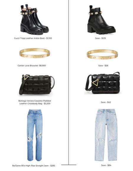Designer Inspired Looks for Less. Women's fashion. Designer dupes. Amazon finds. Amazon dupes. Gucci black boots. Steve Madden Black boots. Cartier gold love bracelet. Bottega Veneta Cassette Padded Leather Crossbody Bag. Black leather padded purse. Women's jeans. Re/Dobe 90's high rise straight jeans. Abercrombie and Fitch.  #LTKshoecrush #LTKitbag #LTKunder50