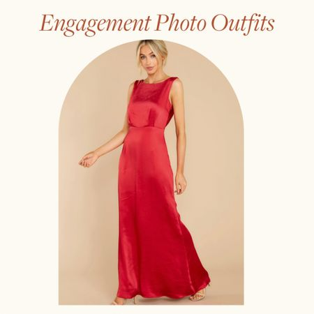 Engagement Photo Outfits Ideas—  This red sleeveless maxi dress, with satin texture. is perfect for Spring engagement photo outfits, summer engagement photos outfits and fall engagement photos outfits with a little class and flare   Would be a great wedding guest dress option too!   http://liketk.it/38nUE #liketkit @liketoknow.it       #LTKVDay #LTKwedding #LTKstyletip