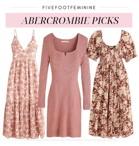 These fall floral dresses from Abercrombie would be so cute with a beige moto jacket over the top. The rib knit sweater dress is on sale for Labor Day!   #LTKunder100 #LTKSeasonal #LTKsalealert