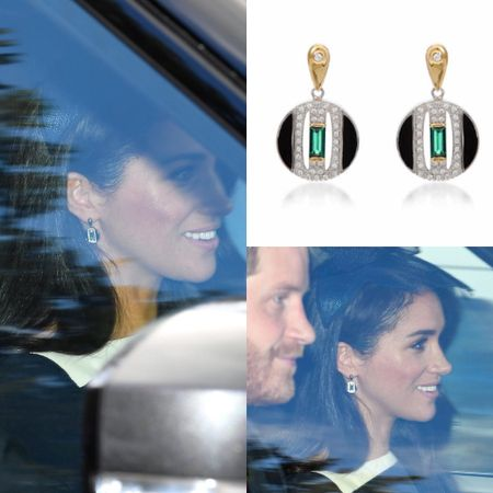 Meghan in emerald Laura Vann Daphne earrings #gift #jewelry #church #europe  #LTKeurope #LTKstyletip