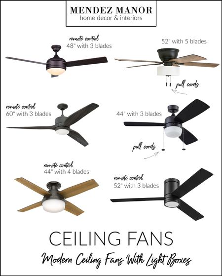 """I put this group of modern ceiling fans together for a Lake Arrowhead cabin I'm working on. These all have light boxes, which is ideal for above a dining table. Lighting is so important and such a big design element in any room. Changing out a dated ceiling fan is a simple update that makes a HUGE difference. Four of these ceiling fans are remote control operated and two of them have traditional pull cords. They would all work great in the space I'm designing, although I think my favorite is the 52"""" remote operated with 3 blades. Which of these is your favorite?   #LTKhome"""