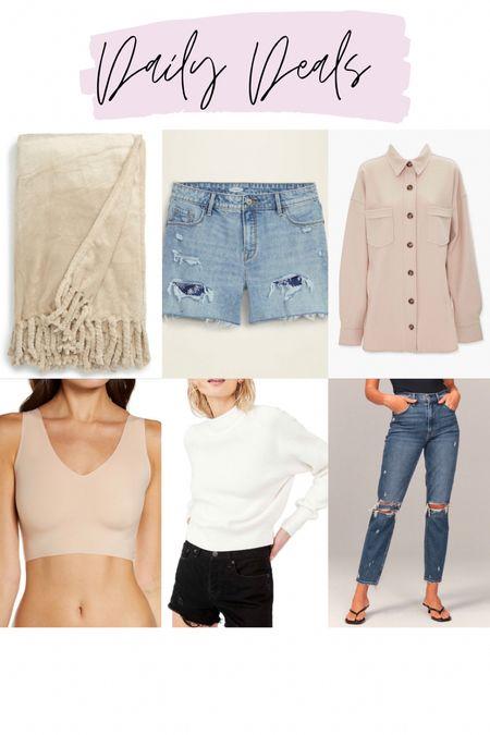 NSale fringe blanket / 50% off old navy shorts / drop shoulder beige shacket / true and co v neck bralette / free people sweater / 30% off Abercrombie jeans   #LTKsalealert #LTKunder100 #LTKstyletip