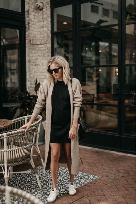 Black t shirt dress with a cardigan and golden goose 🖤  #LTKunder50 #LTKstyletip #LTKunder100