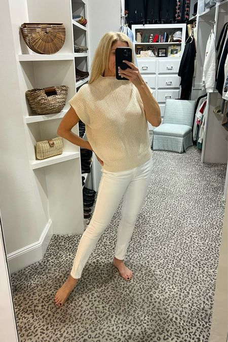 Love this winter white look! Sweater size S and jeans fit TTS     #LTKstyletip #LTKSeasonal #LTKunder100