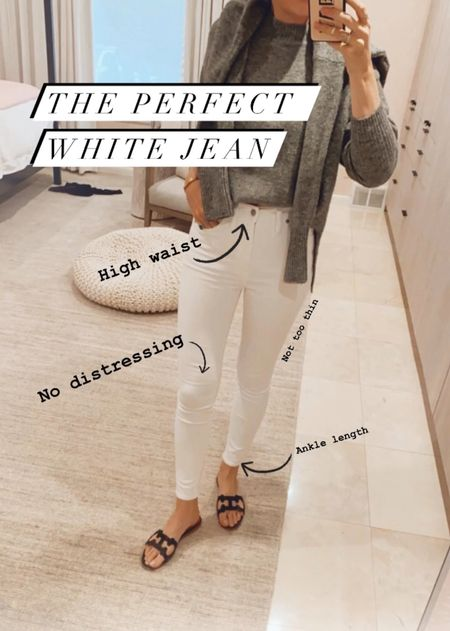 """I found my """"it"""" pair of summer white skinned jeans. These are the right height- 10 inches, which is high but not """"mom"""" high. The denim is not at all sheer and they are just over $100!   #LTKSeasonal #LTKstyletip #LTKworkwear"""