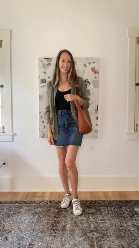 How to wear a black bodysuit from day to night! Green jacket, denim skirt, sneakers outfit, white jacket, mom jeans   #LTKshoecrush #LTKunder100 #LTKstyletip