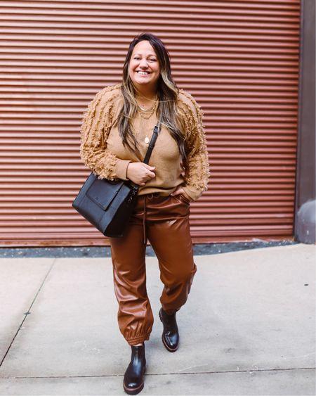 Fringe sleeve sweater from 1 State! | Tan sweater | Sale sweaters | Brown leather pants | Faux leather | Leather joggers | Waterproof boots | Black booties | Winter outfit | Monochromatic outfit | All brown outfit    @liketoknow.it http://liketk.it/38JOD #liketkit #LTKSeasonal #LTKsalealert #LTKunder50