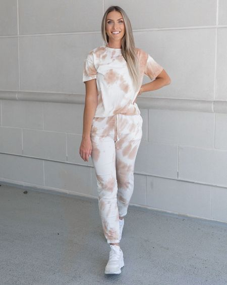 Comfy tie dye set. Amazon fashion. Lounge wear. Amazon finds. White sneakers.  Follow my shop on the @shop.LTK app to shop this post and get my exclusive app-only content!  #liketkit #LTKstyletip #LTKshoecrush #LTKunder50 @shop.ltk