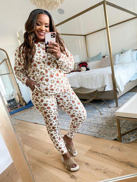 Leopard pajamas run a bit big. Wearing a size medium. Set is $27  #LTKsalealert