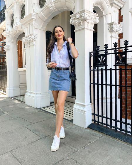 Striped linen shirt, denim mini skirt, Veja esplar trainers. Laid back summer look 💙  @liketoknow.it #liketkit http://liketk.it/3k63Y