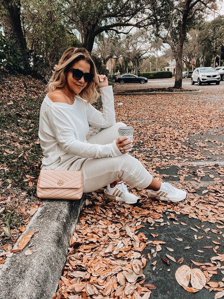 Loungewear, lounge set, neutral loungewear, spring sneakers, white sneakers. Adidas sneakers, Tory Burch bag, quilted bag, trendy bag,  oversized sunnies, square Sunnies, gold necklaces, stud earrings   #LTKitbag #LTKshoecrush #LTKstyletip