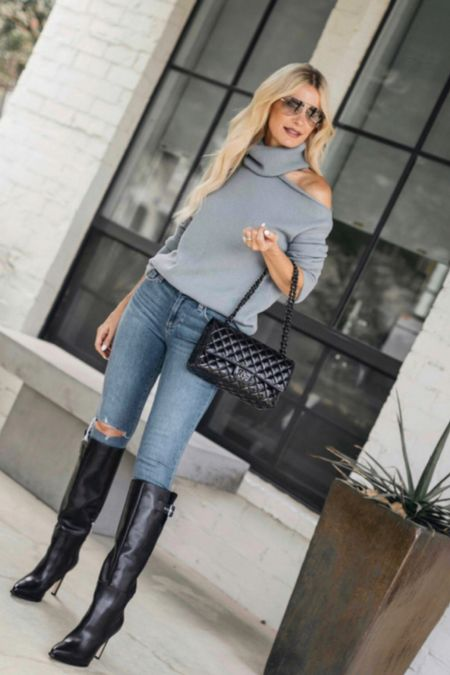 Fall V I B E S ➰ these jeans are incredibly slimming, my sweater is so cozy and soft, and these sleek knee-high boots are guaranteed to take you many places in style this fall and winter!   #LTKSeasonal #LTKunder50 #LTKunder100
